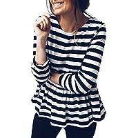 Damen Streifen O-Ausschnitt Langarm Lässigen Langarmshirt Frauen Zerzauste Tops Herbst Dünne Bequem Mode Bluse