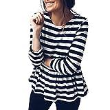 OSYARD Damen Oberseiten Pullover Sweatshirt, Frauen Hemd Tunika Kleidung Casual Streifen Print Rundhalsausschnitt Strickpullover Pulli Langarm Rüschen Saum Top Bluse Winter T-Shirt(L, Schwarz)