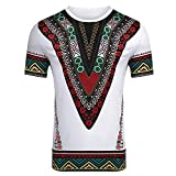 VJGOAL Moda Masculina de Verano Impresión de Estilo étnico Africano Manga Corta Cuello Redondo Top Casual Camiseta de Hombre(Large,Blanco)