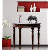 Shagun Arts Sheesham Wood Round Console Table for Living Room | Wooden Side Table | Honey Finish
