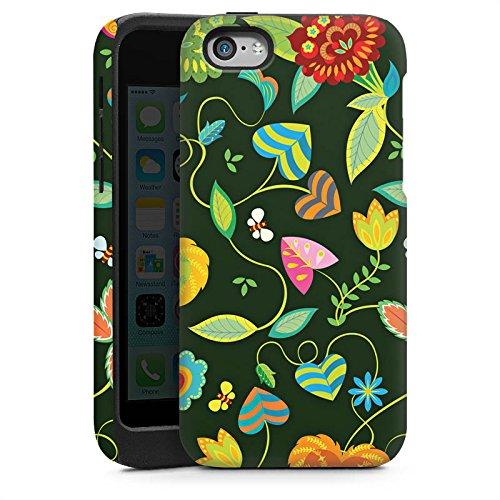 Apple iPhone 5s Housse Étui Protection Coque couleurs Fleurs Fleurs Cas Tough brillant