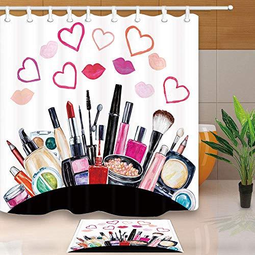 Aliyz Teen Girls Make-up Duschvorhang Aquarell Kosmetik Lippenstift Parfüm in Herz Lippen wasserdichtes Polyestergewebe Bad Vorhang Set passenden Bad Bad Teppiche 71X71in -