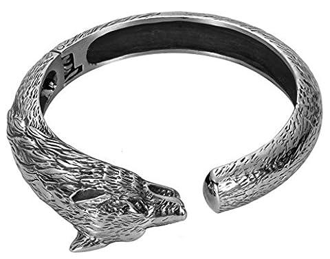 Beydodo Wolf Head Adjustable Vintage BraceletsSilver Stainless Steel Bracelet for Men