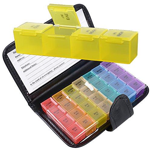 JNCH 7 Tage Pillendose Pillenbox Tablettenbox Tablettendose 4 Fächer/Tag Tragbar mit Schutzhülle Pillen Tabletten Wochenbox Medikamentenbox Medikamentendosierer Bunt
