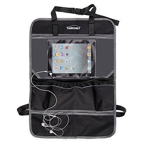 Rückenlehenschutz, CARCHET Auto Organizer 60*42CM Rücksitz Organizer Rücksitztaschen mit 6 große Taschen mit iPad-Fach und Kabelauslauf wasserdicht 1 Stück (Schwarz)