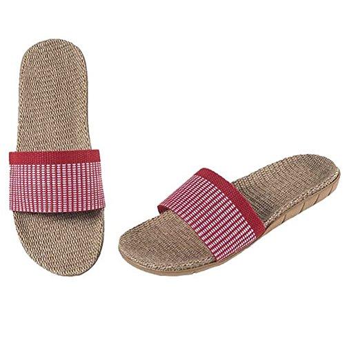 SAGUARO® Anti-Rutsch Pantoffel Sandalen Slipper Badezimmer Gestreifte Leinen Slipper Rot