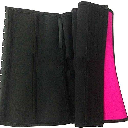 VOLALO Damen Latex Training Sport Unterbrust Korsett Cincher Shaper Body Tailenmieder Pink