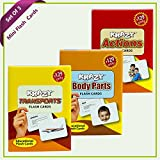 Combo Mini Set of 3 Krazy Flash Cards (Transport+Body Parts+Action )