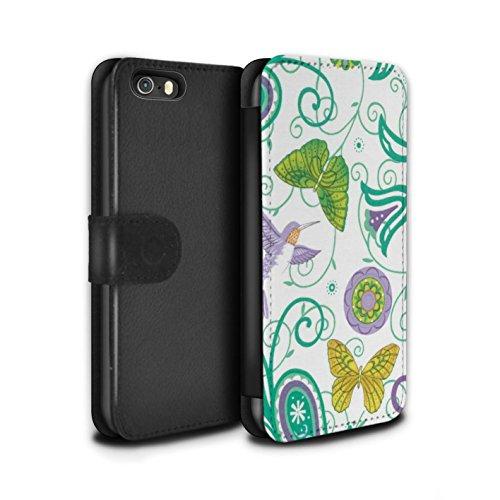 Stuff4 Coque/Etui/Housse Cuir PU Case/Cover pour Apple iPhone SE / Pack 12pcs Design / Printemps Collection Jaune/Blanc