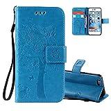Aeeque Portable Bleu Etui PU Cuir Coque iPhone 6S, Élégant [Chat et Arbre] Motif à Rabat Portefeuille Housse Pochette Magnétique Support Style de Livre Anti Rayure Protection pour iPhone 6 6S