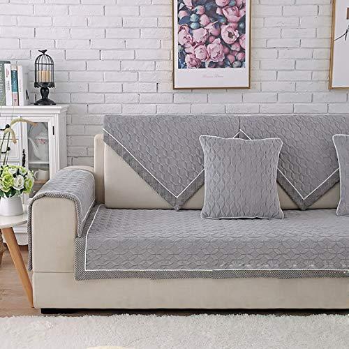 Huanzi sofa 1 pezzo textilhome copridivano breve peluche spessa divano imbottito copertura slittamento rivestimento antiscivolo,adatto per copridivano con penisola, gray, 70 * 150cm