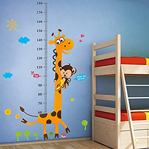 WandSticker4U- Wandtattoo Messlatte Kind Baby- Giraffe - verschiedene MOTIVE und