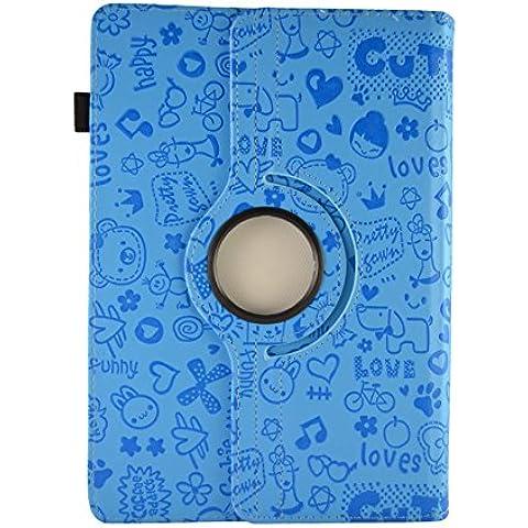 Theoutlettablet® Funda de diseño original Azul de dibujos y función Giratoria para Tablet Woxter QX 103 / QX 105 / SX 100 / SX 110 / SX 200 / ZEN 10