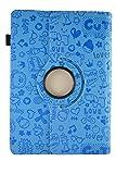 Theoutlettablet Étui original avec dessins et fonction support pour tablette Qilive 25,6 cm 10,1' Motif Dessins Bleu