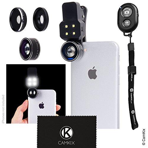 Galleria fotografica Kit Lenti Fotocamera con Luce LED per Cellulare / Tablet, include Telecomando Otturatore Fotocamera Bluetooth - Universale – Lente Fisheye, Grandangolo e Macro - Fantastico Upgrade per Apple iPhone, Samsung Galaxy e molti altri (non adatto per iPhone 7 Plus)