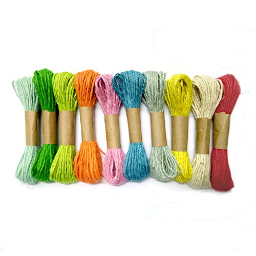 100M Natürlicher Bakers Twine Durable Baumwolle Schnur Bastelschnur Ideal geeignet furs Geschenkpapier und DIY Basteln Dekoration(10 Farben)