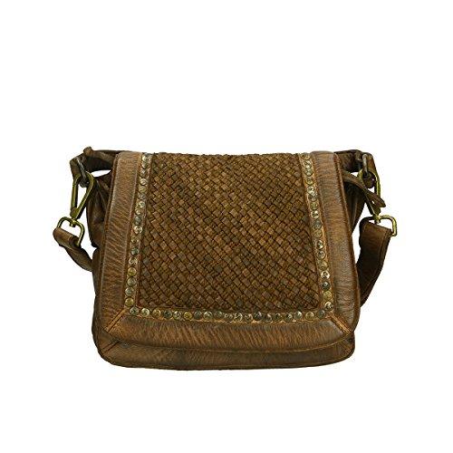Chicca Borse Borsa a tracolla in pelle 25x24x12 100% Genuine Leather Marrone