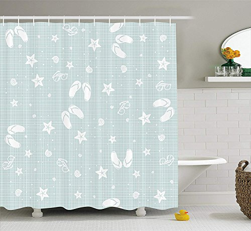 OuopBgbkkjn Aqua Shower Curtain Beach Tema Decor Sea Shells Starfishes Infradito Occhiali Summer Holiday Image Arredo con Extra Lungo Seafoam e Bianco