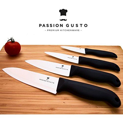 Keramik Messer Set schwarz weiß - 4 edle Küchenmesser aus Zirkonia-Keramik inklusive 4x Klingenschutz in Magnet-Geschenkbox auf Echtschaum