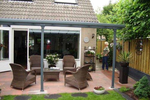 Hochwertige ALU Terrassenüberdachung / Veranda – 420 x 300 (BxT) / Überdachung Palram Feria Grau
