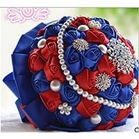 Romantico rosa di seta Bouquet da sposa bouquet di nozze di lusso bridesmade azienda fiori con diamante perla nastro San Valentino Bouquet BLUE WITH RED