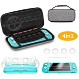 Hianjoo Case Compatible with Switch Lite 2019, 8 in 1 Carrying Case Pouch with 10 Card Slots Storage, Accessories Kit Include Back Cover, 2 Tempered Glass Screen Protector, 4 Thumb Grip Caps