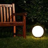 Kugelleuchte Miau mit Erdspieß - Leuchtkugel Garten mit 30cm Durchmesser und 5 Meter Zuleitung - Garten Kugel LED in Weiß - Wetterfest mit E27 Fassung