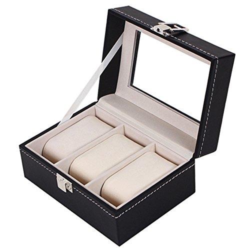 Gosear 3 slot PU Handgelenk Uhr Anzeige Box Fall Lagerung Halter Veranstalter Ausstellung Haus Dekoration