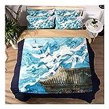 CSYPYLE Bettwäsche Set Heimtextilien Kreative Chinesischen Stil Kran Sea Wave Muster Weiche Bequeme Bettbezug Bettlaken Schlafzimmer Bettwäsche Kit, 1,8 Mt