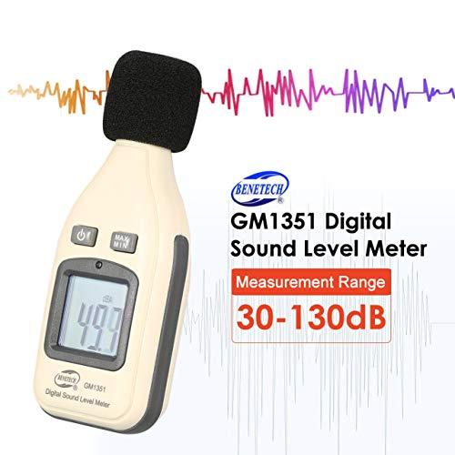 BENETECH GM1351 30-130dB Digitale Schallpegelmesser Noise Audio Lautstärkenüberwachung Test dB Dezibel Detektor mit LCD Hintergrundbeleuchtung (Farbe: Weiß)