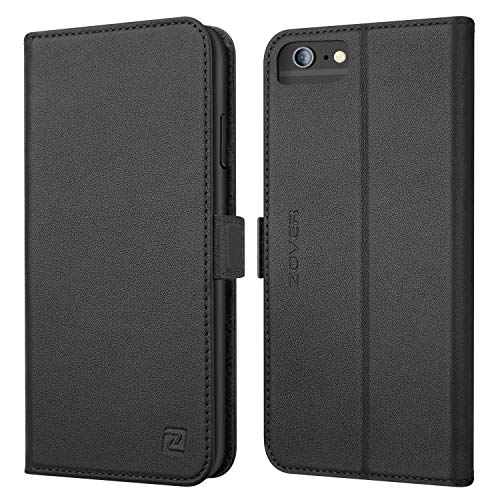 ZOVER iPhone 6S Plus Hülle iPhone 6 Plus Hülle Echt Leder Tasche für iPhone 6S/6 Plus(5.5 Zoll) Handyhülle im Bookstyle mit Magnet Kartenfächer Standfunktion Schwarz
