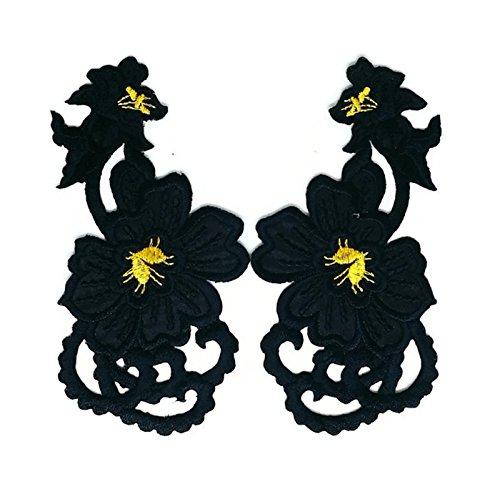 Paar Schwarz Gold Blumen Floral Trim Patch Sew Iron on gesticktes Badge Symbol Custom Floral Gold Trim