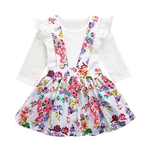 Malloom® Baumwollmischung Baby Mädchen Spitze einfarbig Jacquard + Farbe Blumendruck Kleid Rock zweiteilige Anzug (weiß, 80) (Anzug Plissee-kragen Rock)