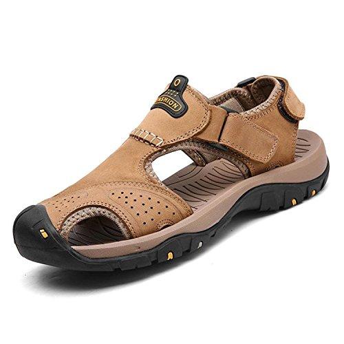 Men Sandals Genuine Split Leather Men Beach Roman Sandals Brand Men Casual Shoes Flip Flops Men Slippers Sneakers Summer Shoes Khaki 6.5