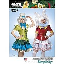 Disfraz de Misses' Alice in Wonderland, Simplicity, Patrón 8237, para cosplay, color blanco
