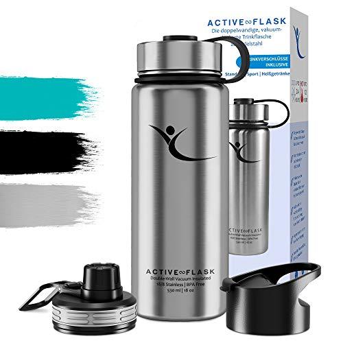 Trinkflasche ACTIVE FLASK Isolierflasche + 3 Trinkverschlüsse   BPA frei - 1l / 0,5 Liter   Vakuum isolierte Edelstahl Thermosflasche   Wasserflasche für Büro, Sport, Schule, Kinder Fahrrad Outdoor