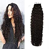 LaaVoo 22 Pulgadas Seamless Tape Hair Extensions #1 Negro Natural Kinky Curly Tape in...
