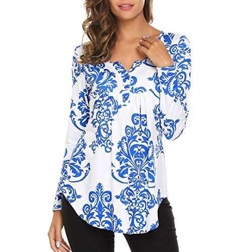 Hmeng Frauen Crewneck Langarm Floral Shirts Ausgestellte Casual Tunika Tops (Blau, S)