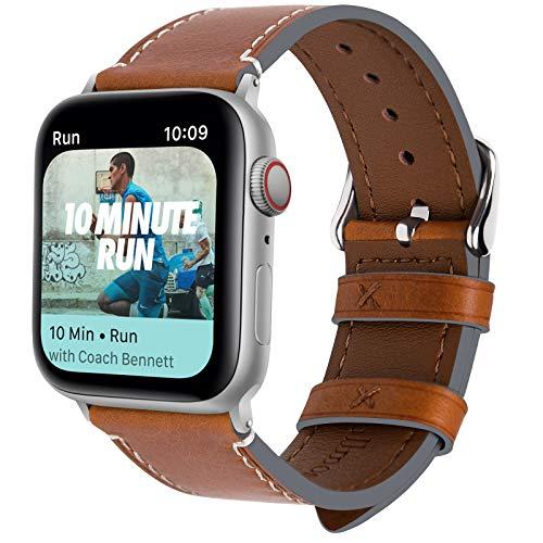 Fullmosa Kompatibel Apple Watch Armband44mm in 4 Farben, Vintage Leder Band für iWatch Series 4 44mm, Apple Watch Nike+, iWatch Ersatzband,Hellbraun + Silber Schnalle 44mm Apple Farbe