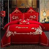 CDSITHH 100% Baumwolle chinesische Klassische Hochzeit Bettwäsche Set StickereiBettbezug Bettlaken Kissenbezüge 4/6 / 7Pcs @ Qx3_King_Size_7Pcs