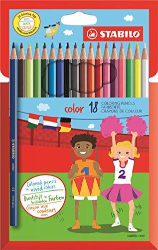Buntstift - STABILO color - 18er Pack - mit 18 verschiedenen Farben inklusive 3 Neonfarben