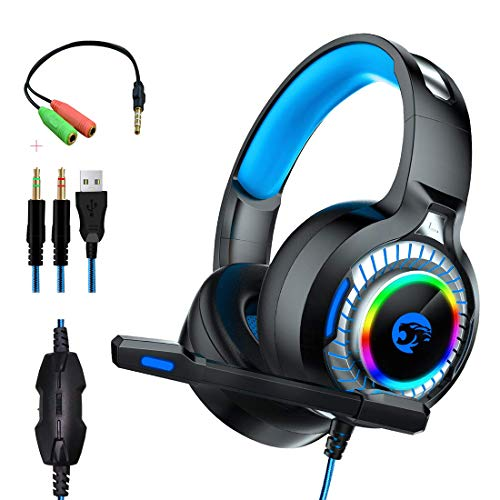 qka cuffie da gioco, cuffie over-ear con microfono, effetto di vibrazione, luce a led, rumore per ps4, pc, xbox one, hardware di gioco cablato professionale