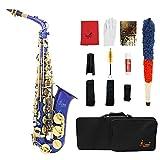 Lade® Latón grabado Eb saxofón Alto E-soportes planos de Fairyland con iluminación de botones nacarados viento guantes de grasa cinturón gamuza de limpieza funda de piel con tapa de pinceles de fibra