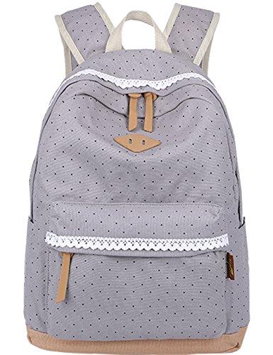 Leichte Schulrucksack mit Polka Dots Nette Canvas Schultaschen Damen Mädchen EXTRA Groß Kinderrucksack Daypacks Rucksäcke Modische mit Laptop Fach 33 * 45 * 17 cm - Little Princess (Grau)