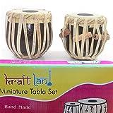 KraftLand Hand Made Miniature Tabla Set - (Mini Tabla Size 4 Inch) With Tabla Box, Replica/ Real Mini Tabla Set (Decorative Showpieces)
