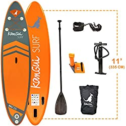 Kangui - Stand up Paddle 335cm Sup Gonflable + pagaie + Sac à Dos + Pompe Haute Pression + Leash + kit de réparation- Bali