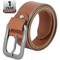 ShopnZ Leather Belt for Men's -100% Full Grain Handmade with Heavy Duty Zinc Alloy Buckle - Easily Adjustable- Formal/Casual/Jeans Belts- Black/Brown - Width - 40mm - 115- BR - 46