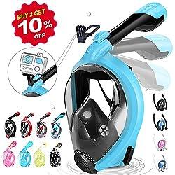HENGBIRD Tauchmaske für Kinder und Erwachsene Müheloses Atmen mit Aktivgopro Halter 180° Sichtfeld Faltschnorchel Antibeschlag Silikondichtlippe Schnorchelmaske Taucherbrille (Blau S/M)