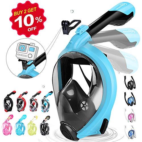 HENGBIRD Masque Snorkeling Masque de Plongée Intégral Complet Antibuée Anti-Fuite d'Eau Lunettes de Plongée Plein Visage 180° Visible et Le Support pour Caméra Sport