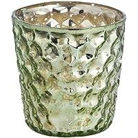 Insideretail-Porta lumini con bolle, effetto vintage, in vetro, colore: verde chiaro, 7 cm, confezione da